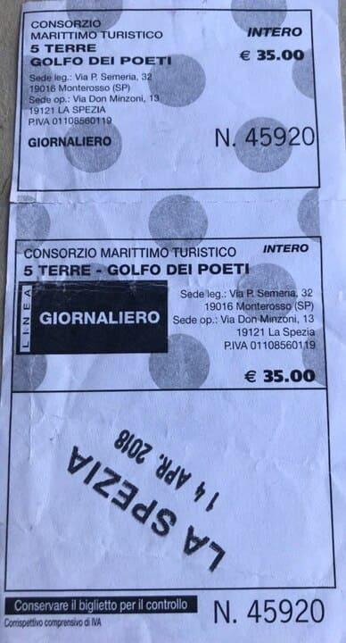 Ticket passeio barco Cinque Terre